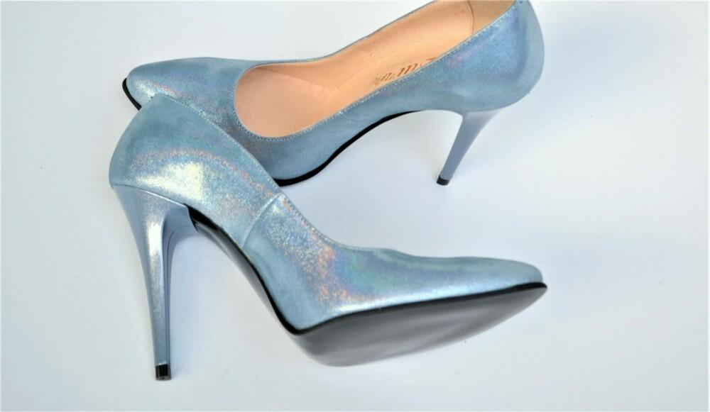 Pantofi stiletto sclipitori din piele naturala