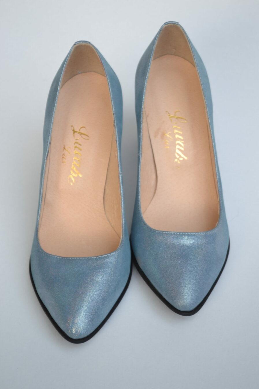 Pantofi din piele naturala cu sclipici