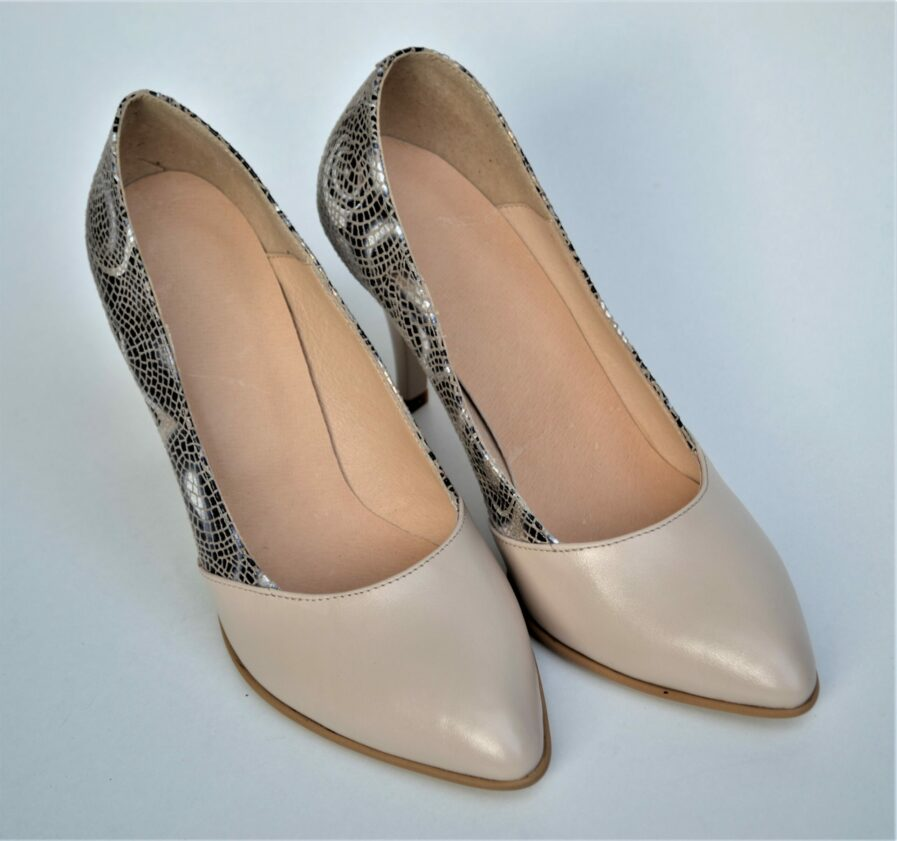 Pantofi din piele naturala in 2 nuante