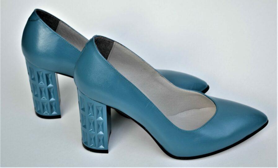 Pantofi bleu din piele naturala cu toc geometric