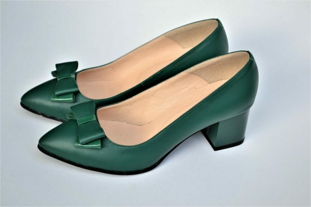 Pantofi verde smarald din piele naturala