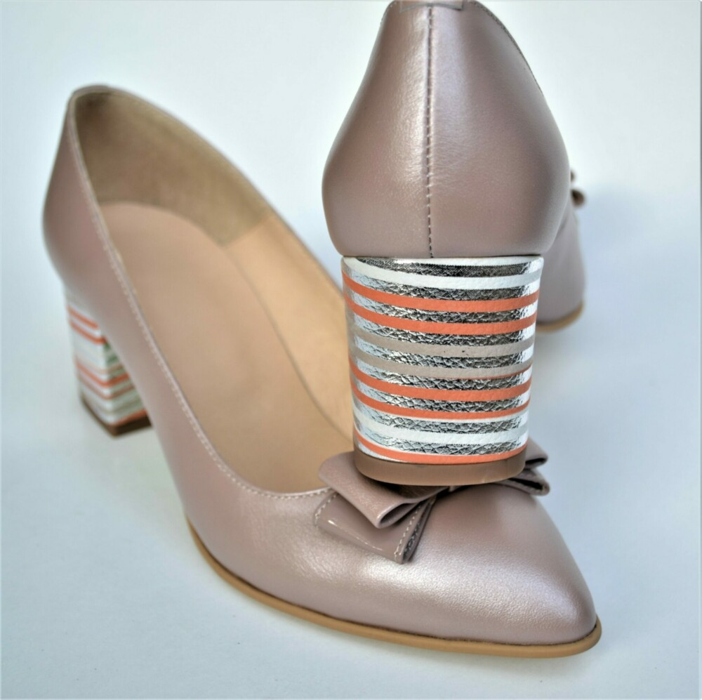 Pantofi nude din piele naturala cu funda