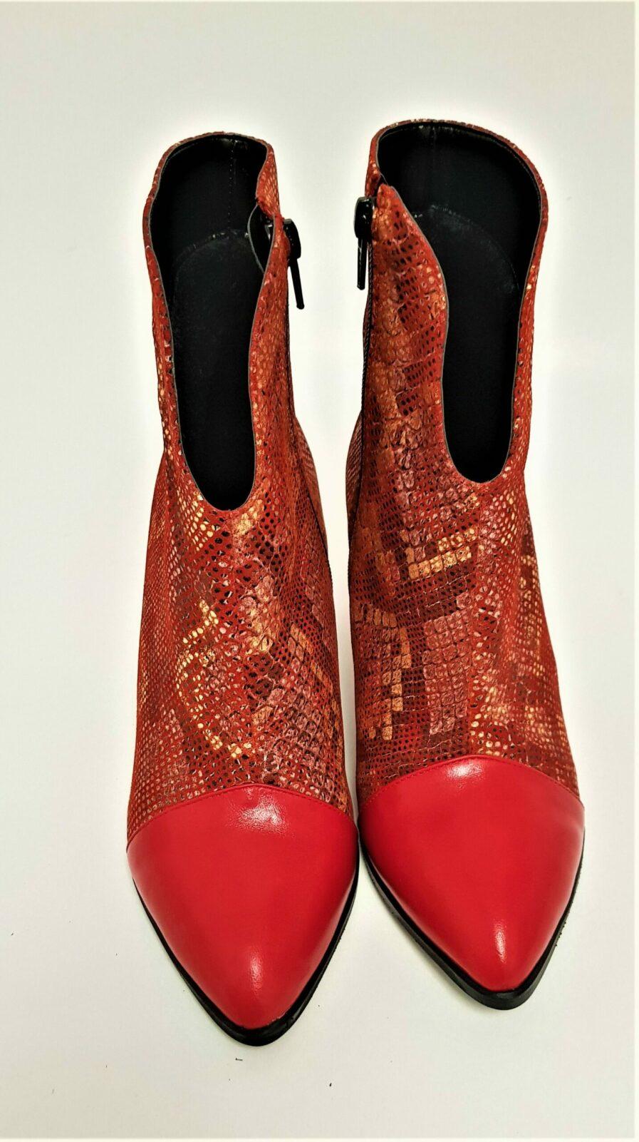 Botine rosii din piele naturala cu print sarpe