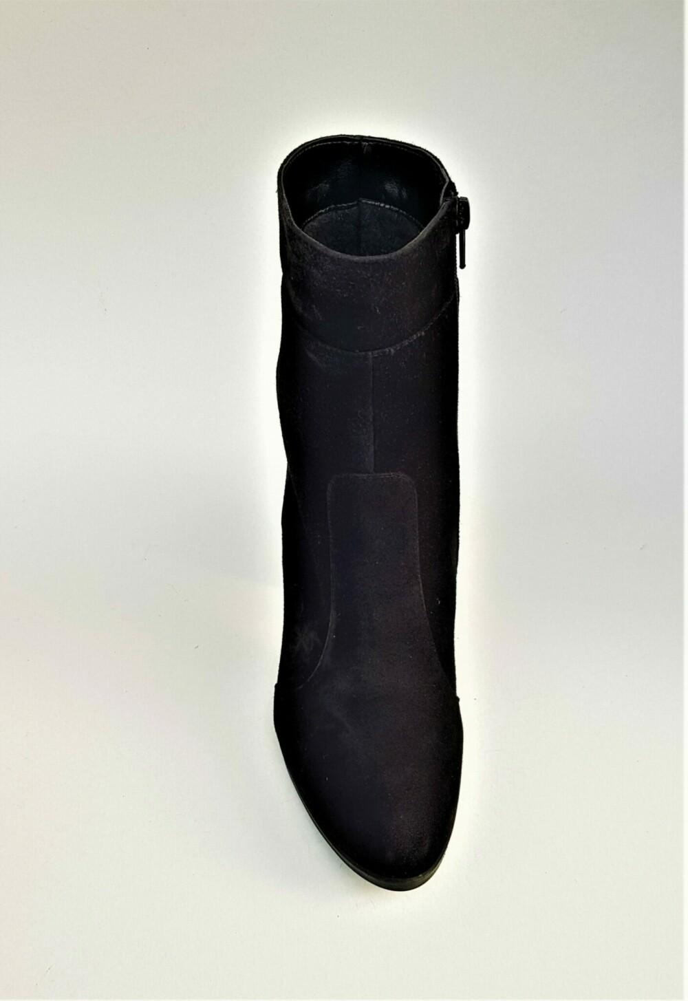 Botine negre din piele naturala catifelata