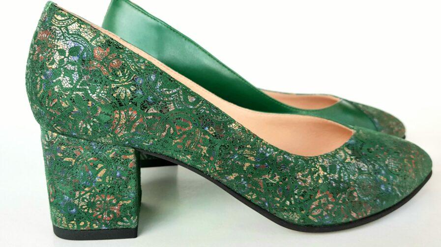 Pantofi verzi din piele naturala cu imprimeu