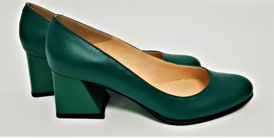 Pantofi verde din piele naturala cu toc gros