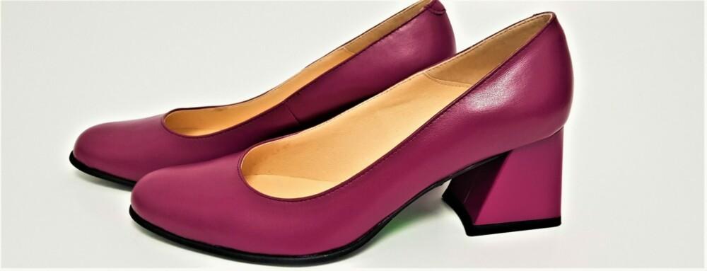 Pantofi roz din piele naturala cu toc gros