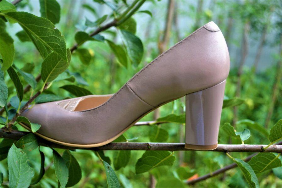 Pantofi cappuccino din piele naturala