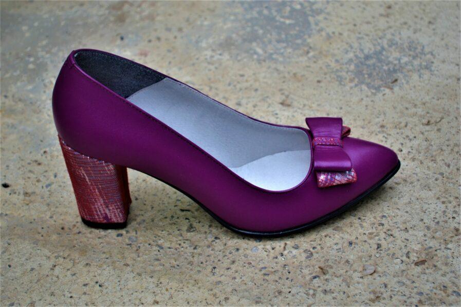 Pantofi mod din piele naturala cu funda