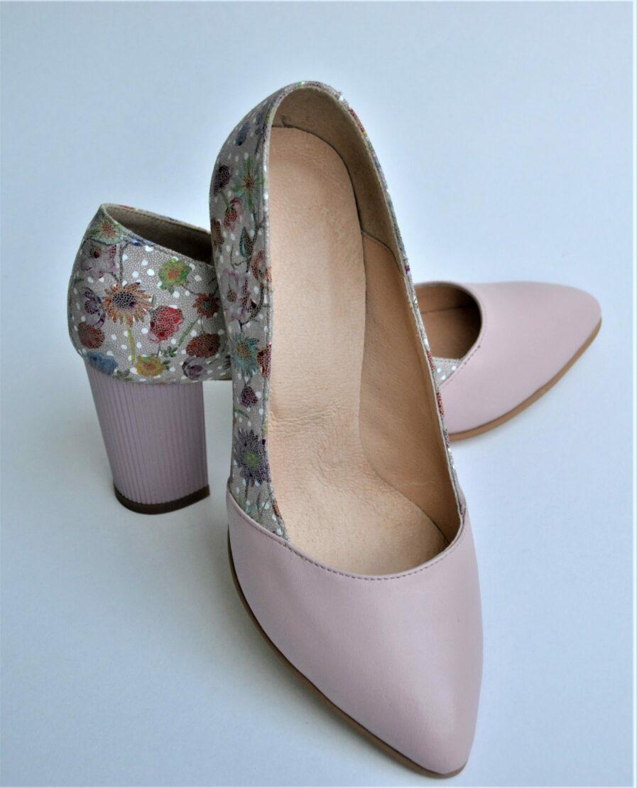 Pantofi roz pal din piele naturala cu imprimeu floral