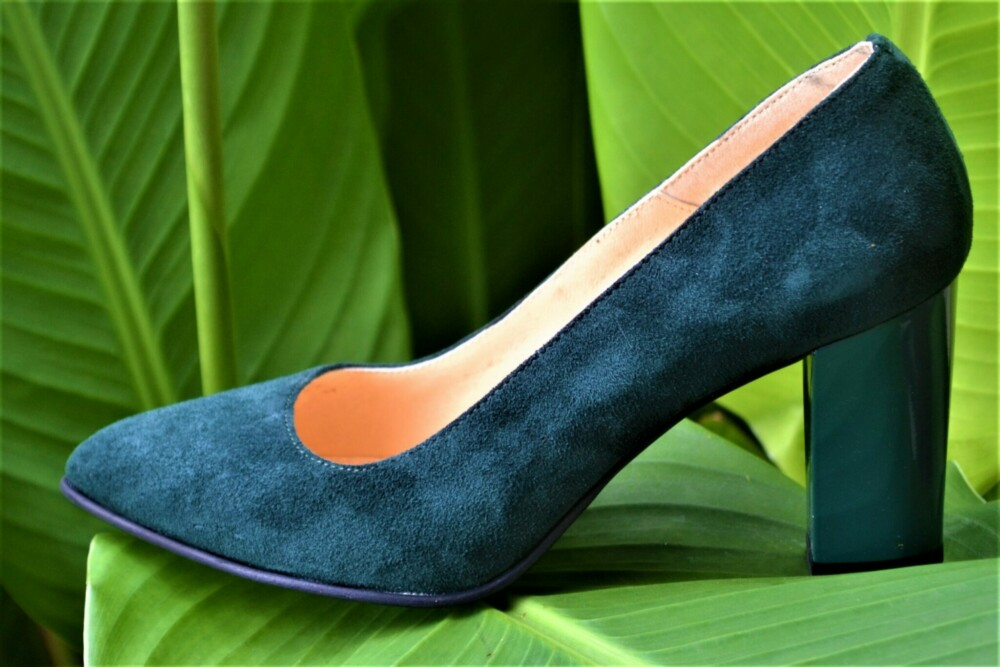 Pantofi verzi din piele naturala catifelata