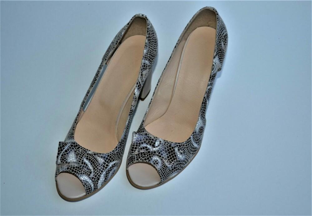 Pantofi din piele naturala cu funda