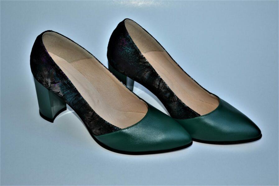 Pantofi verde smarald din piele naturala cu imprimeu