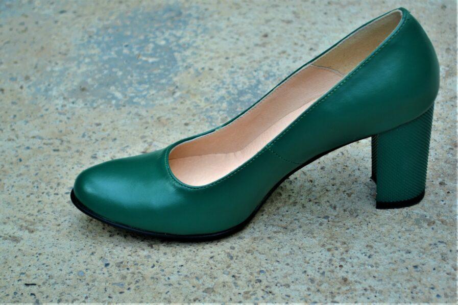 Pantofi verzi din piele naturala