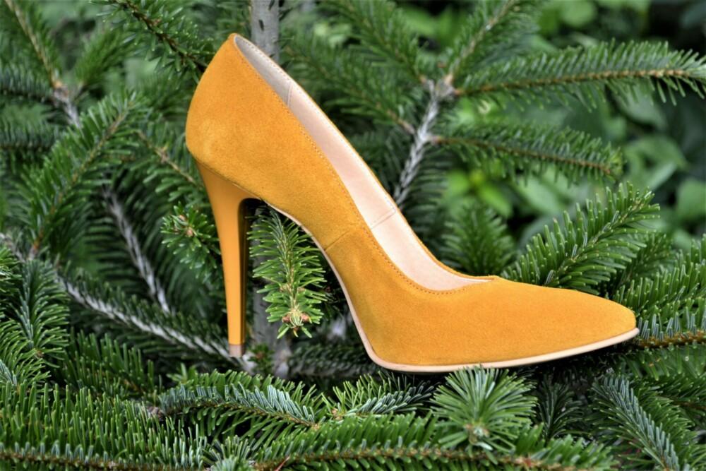 Pantofi mustar din piele naturala catifelata