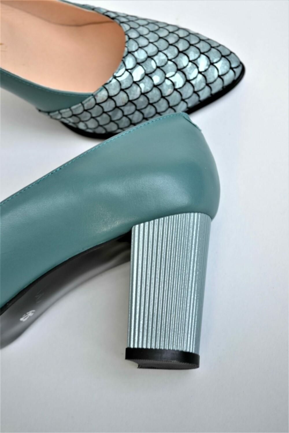 Pantofi verde opalin din piele naturala cu imprimeu
