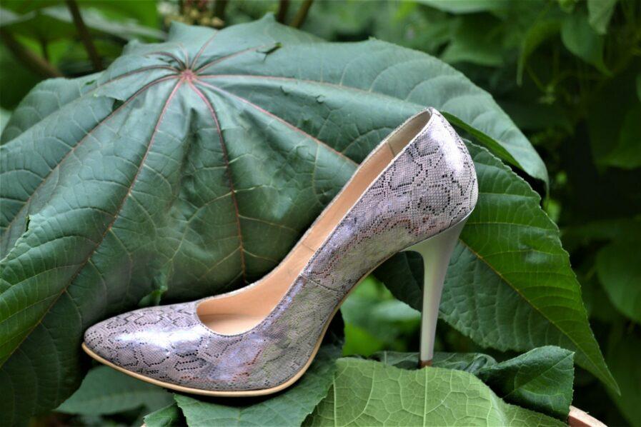 Pantofi din piele naturala imprimeu piele de sarpe