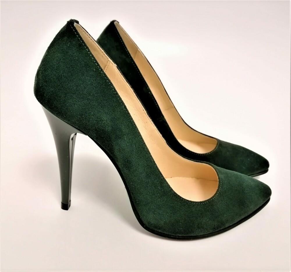 Pantofi verzi catifea din piele naturala cu toc cui