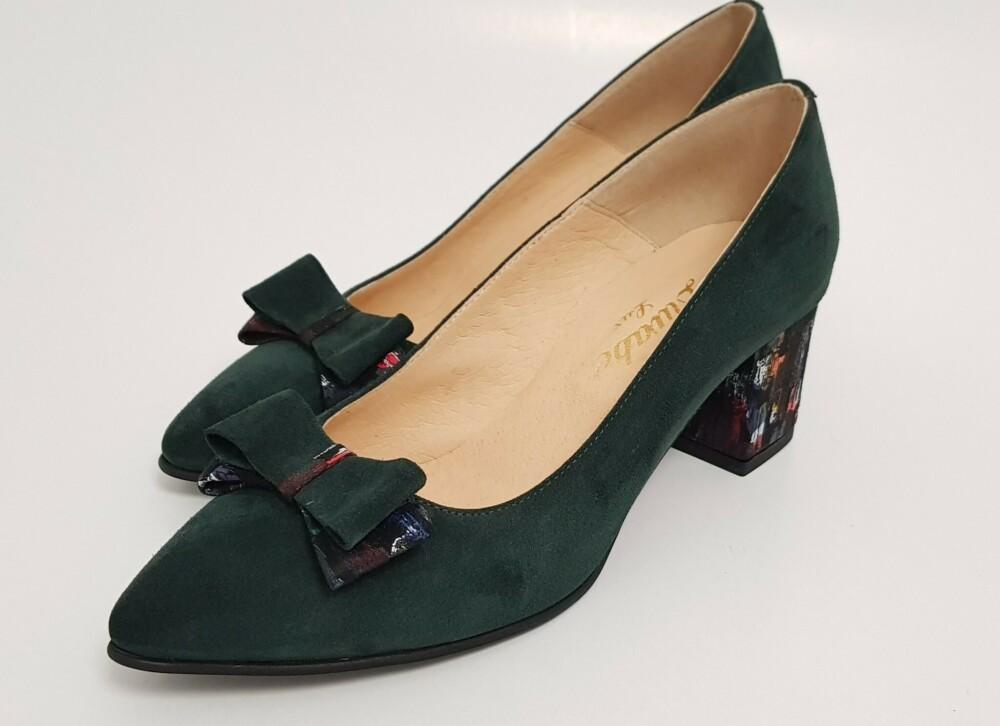 Pantofi verzi din piele naturala cu funda