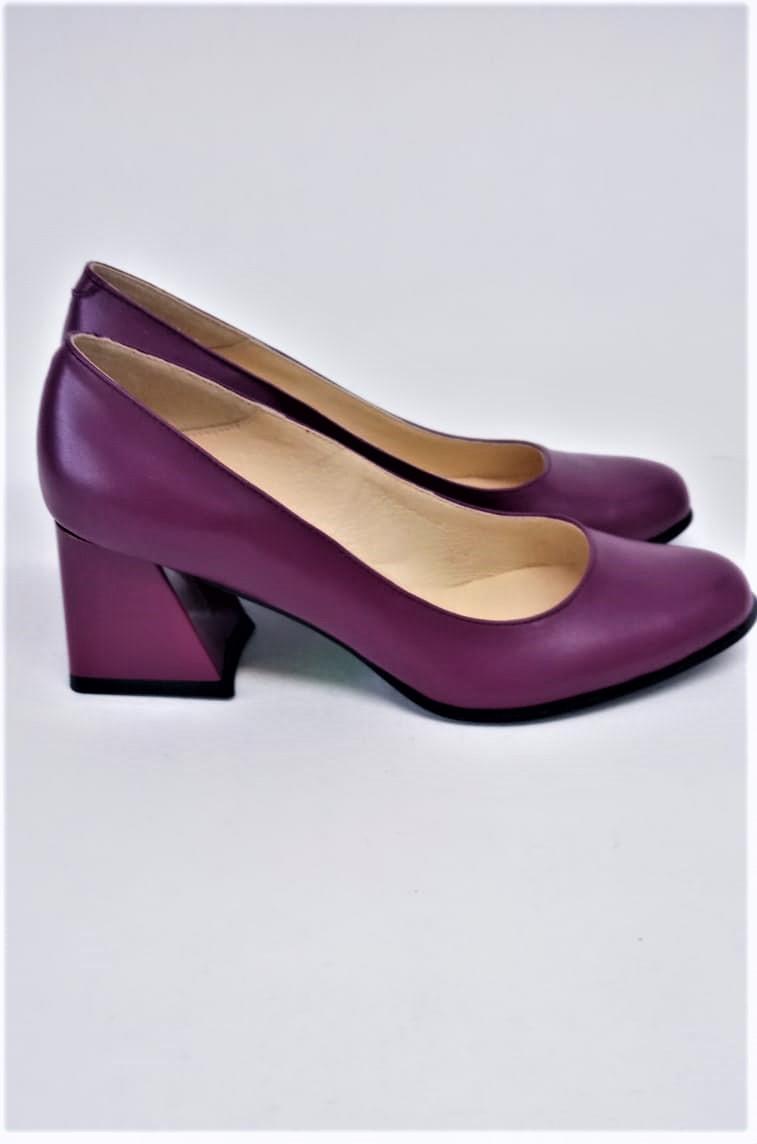 Pantofi mov din piele naturala cu toc gros