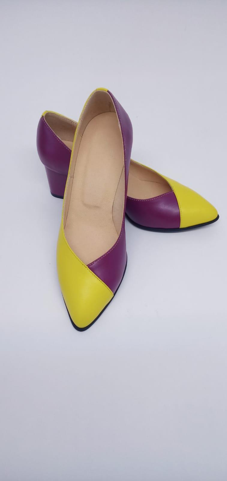 Pantofi galben cu roz din piele naturala