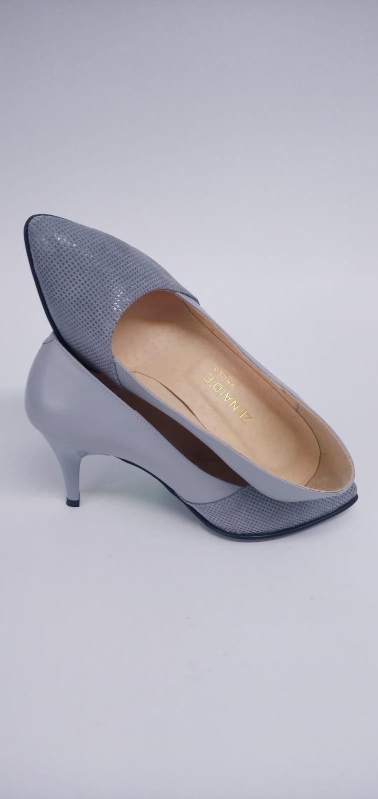 Pantofi gri din piele naturala