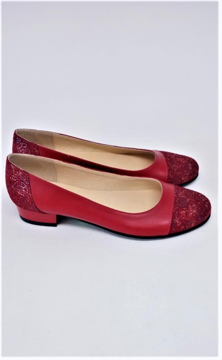 Balerini rosii din piele naturala