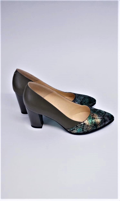 Pantofi kaki din piele naturala