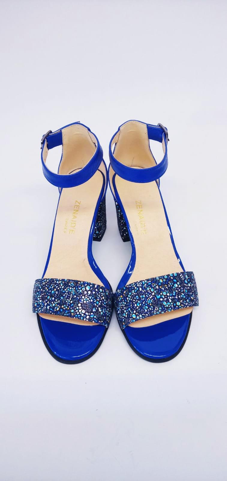Sandale albastre din piele naturala cu sclipici