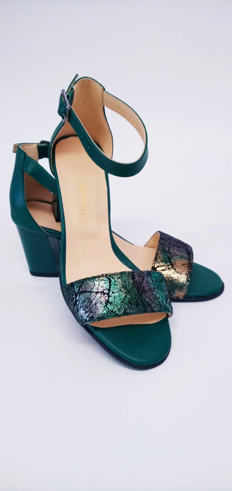 Sandale verzi din piele naturala