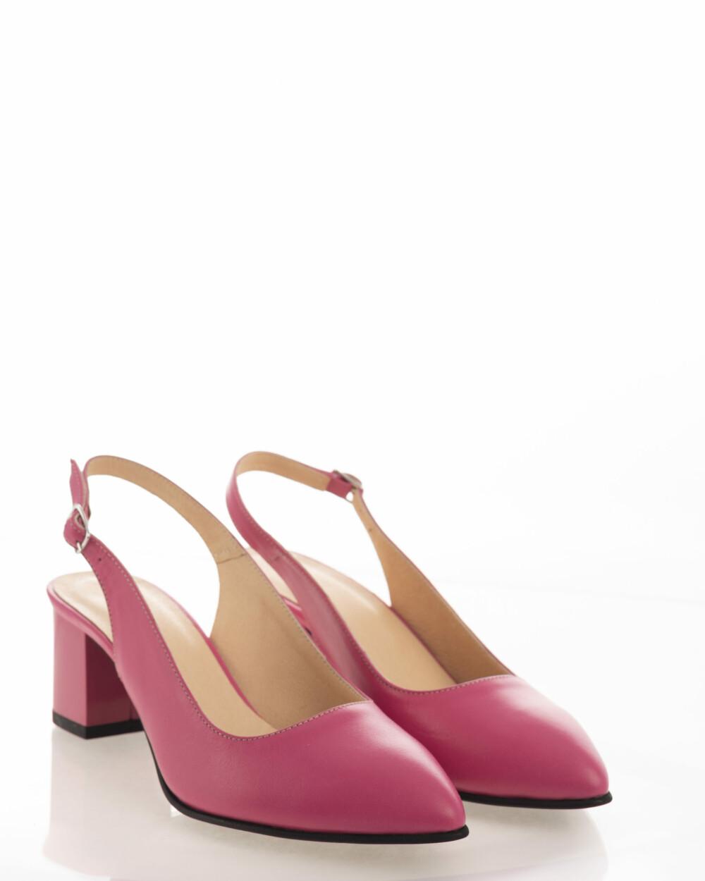 Pantofi sandale roz din piele naturala