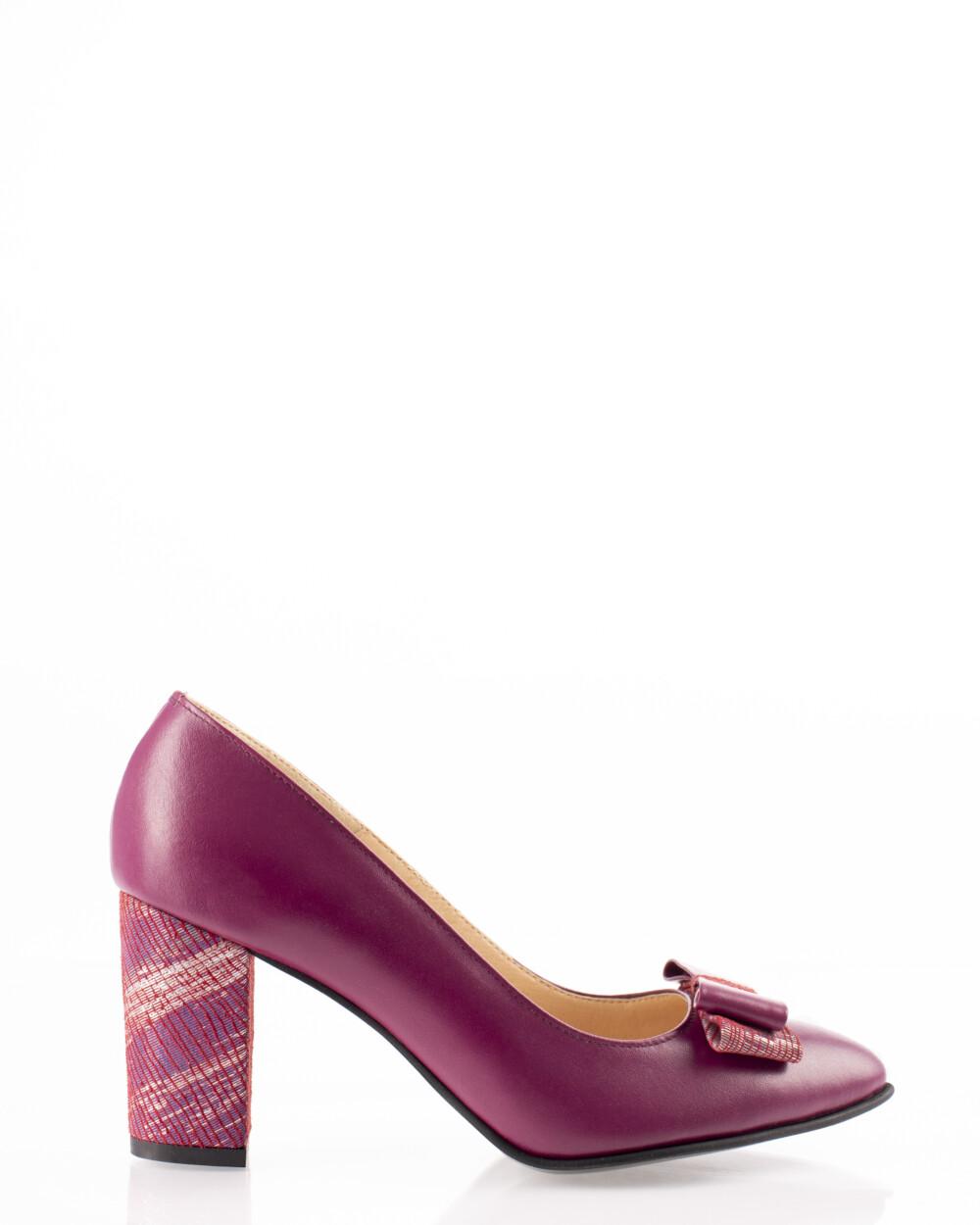 Pantofi office vișinii din piele naturală