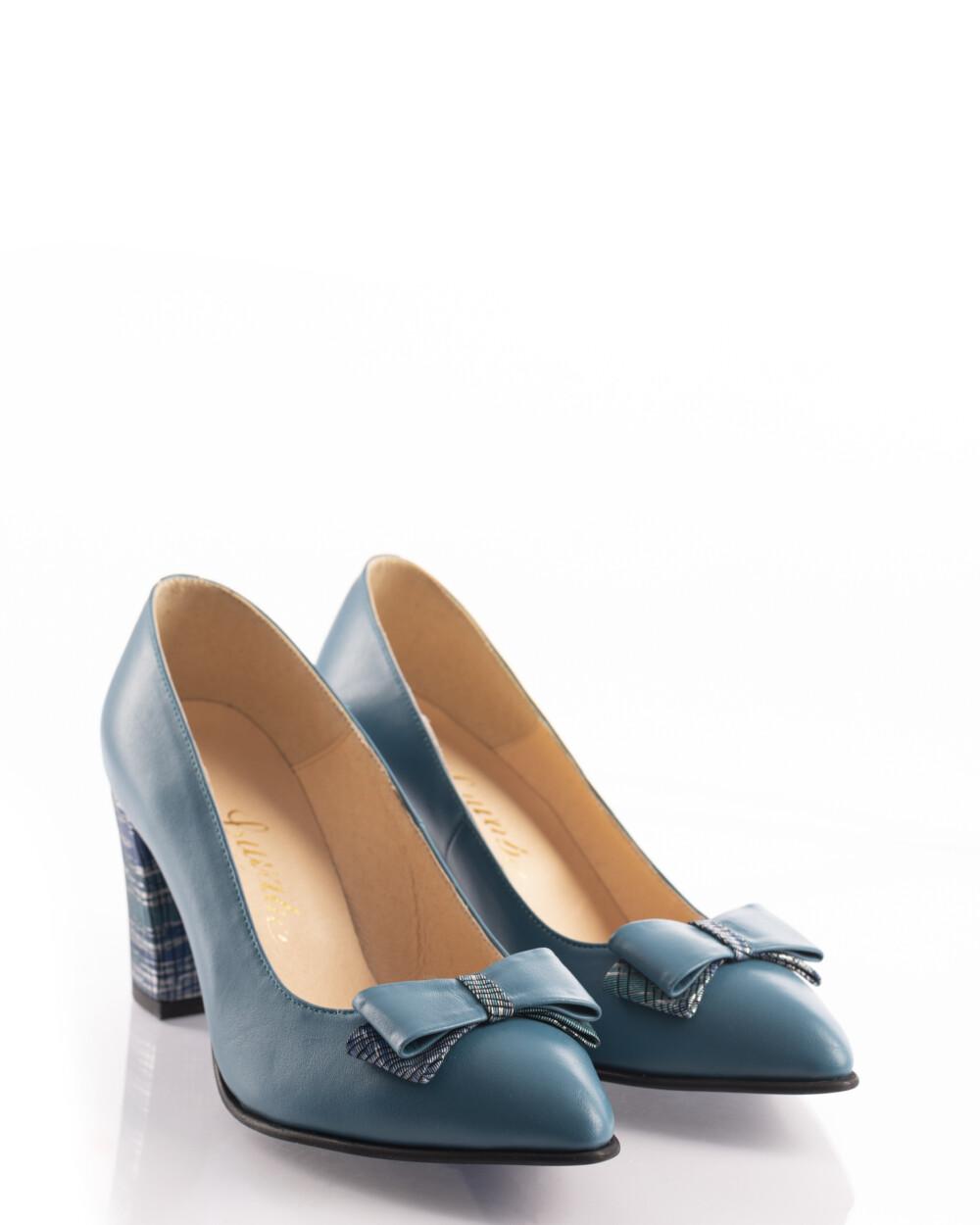 pantofi office albaștri din piele naturală